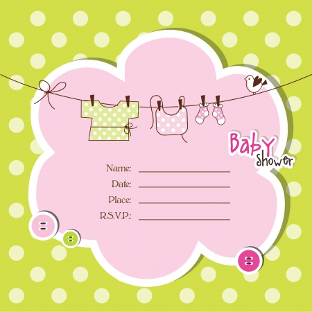 girl drawing: Baby shower invitation with copy space
