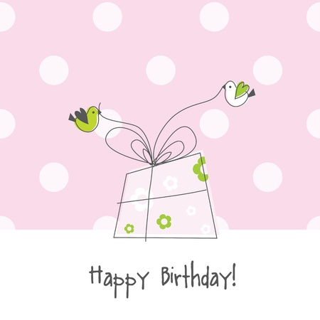 cute text box: Birthday card with copy space Illustration
