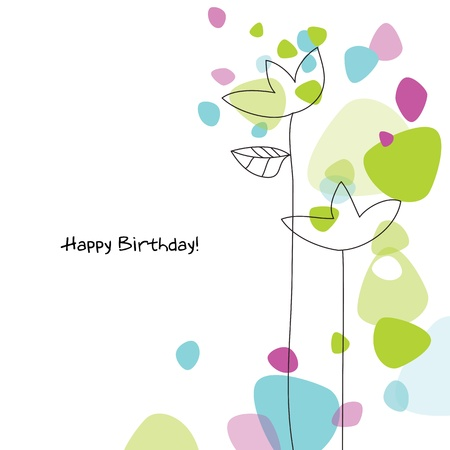 garden design: Birthday card with copy space Illustration