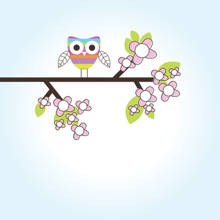 owl cute: Birthday card with copy space Illustration