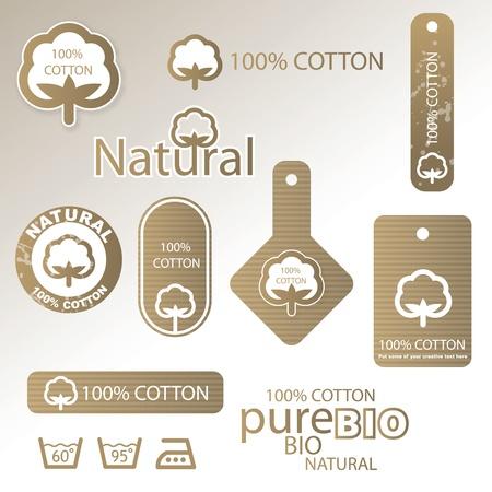 Etiquetas de algodón Ilustración de vector
