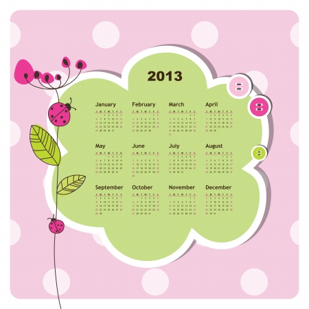New year calendar 2013  Vector