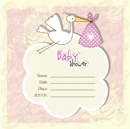 vintage baby: Baby shower invitation with copy space