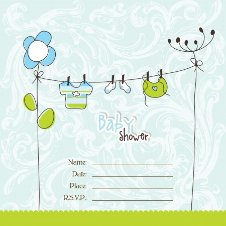 baby arrival: Baby shower invitation with copy space