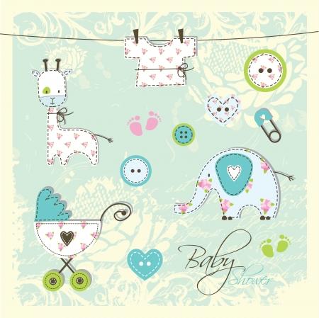 invitacion baby shower: Beb� ducha elementos de dise�o