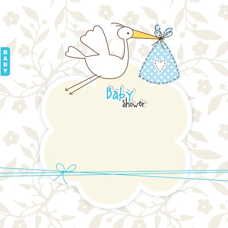 stork: Cute card with copy space Illustration