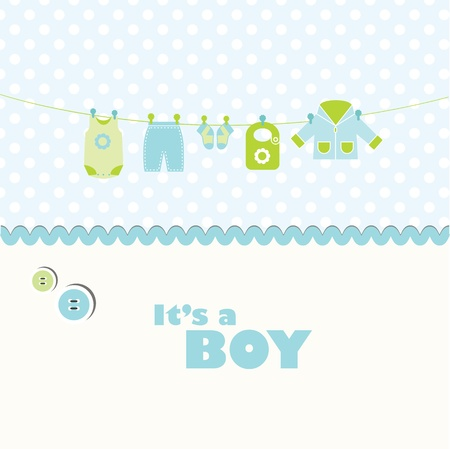 baby boy shower: Cute card with copy space Illustration