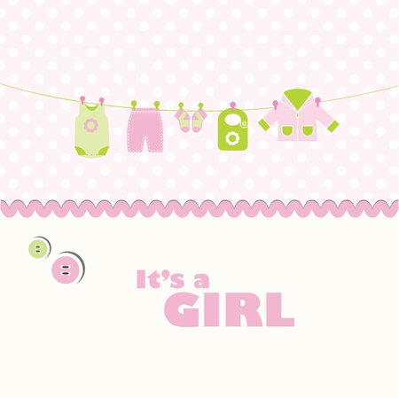 baby boy birth: Cute card with copy space Illustration