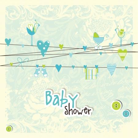 Baby shower card, invitation card  Vector
