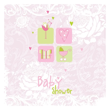 Baby shower card, invitation card  Vector