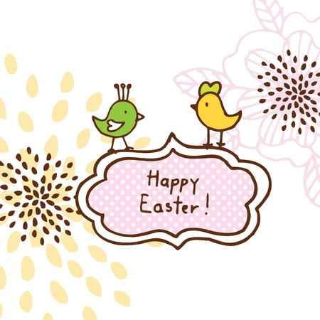 Easter card, cute doodle design element Vector