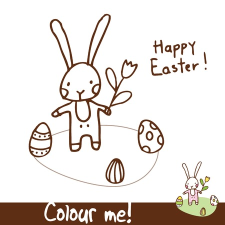 easter bunny - coloring illustration page cute design element  Vector