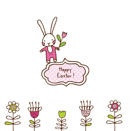 april beautiful: Easter bunny, cute doodle design element for greeting card