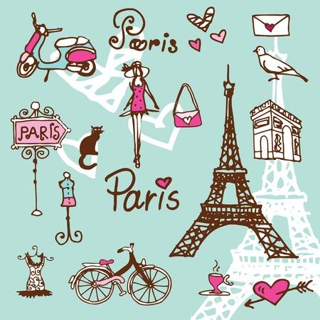 Touring: Paryż symbole doodle - tło