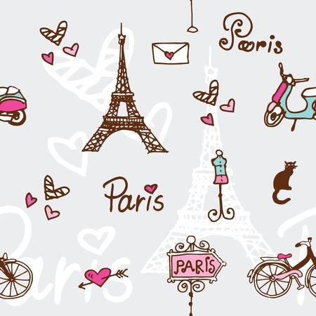 Paris seamless pattern background Vector