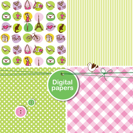 Paris - Set of cute seamless patterns Vector