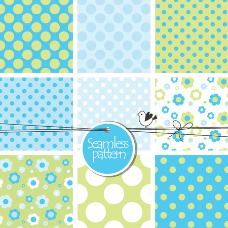 Colorful cute seamless patterns  Vector