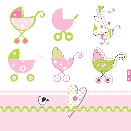 Pink buggy, stroller, Baby girl desgihn elements for scrapbook, invitation card, showers Vector