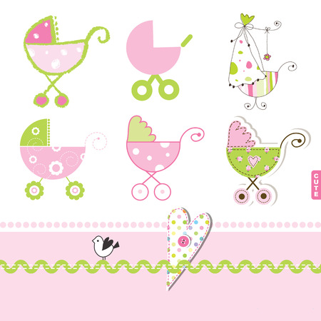 Pink buggy, stroller, Baby girl desgihn elements for scrapbook, invitation card, showers Illustration