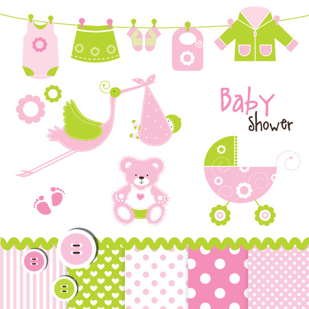 Baby girl design elements for invitation cards, greetings, web, scrapbook Vector