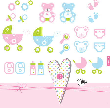 baby girl: Baby girl or boy design elements for invitations, scrapbook ...