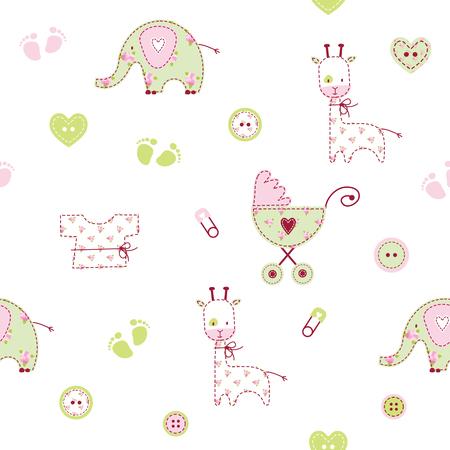patrón de la ducha del bebé lindo Ilustración de vector