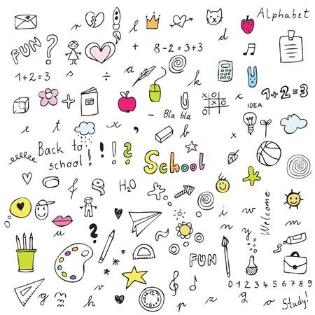 Volver a la escuela - elementos de diseño Ilustración de vector