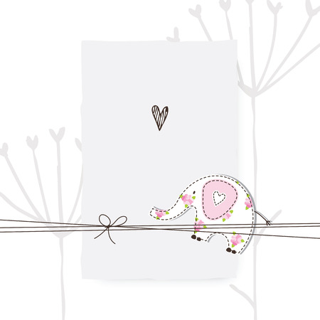 freehand drawing: Greeting card - template - freehand drawing Illustration