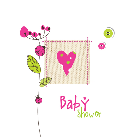 vector girl: Baby shower greeting card