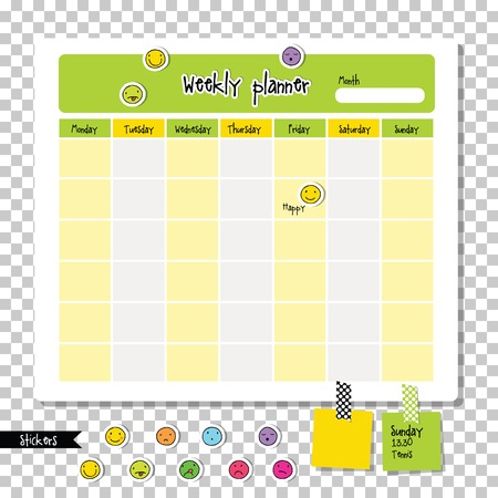 Weekly planner. Note paper, Notes, to do list. Organiser planner template. Note paper. With clorful smiley icon stickers. Иллюстрация