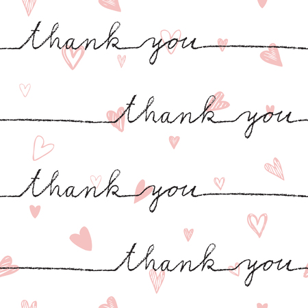 decorative line: Thank you. Seamless pattern. Hand drawn. Decorative background for gift paper, wrap paper, textile, backgrounds, cards, wallpaper, labels, stickers ...