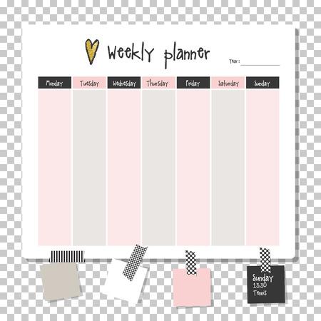 Planning hebdomadaire. Remarque papier, notes, liste à faire. modèle de planificateur organisateur. Remarque papier. Nouvel an et le temps de Noël. Vecteurs