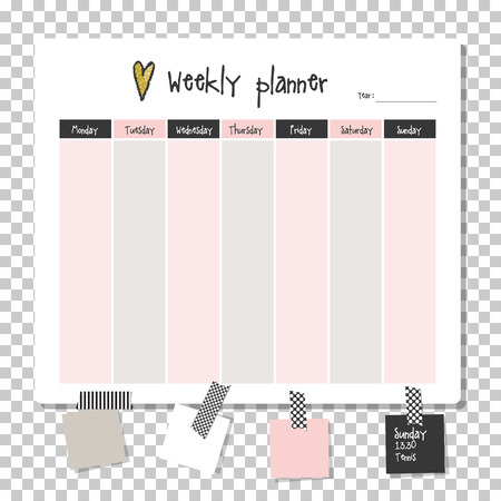 Weekly planner. Note paper, Notes, to do list. Organiser planner template. Note paper. New year and Christmas time.