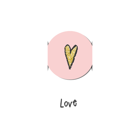 cute graphic: Greeting card with pink heart. For birthday invitatin,  baby shower, mother day. Cute graphic design element.