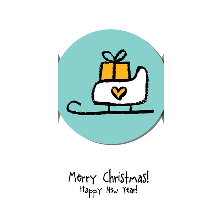 sticker design: Christmas and New year greeting card. Label, gift card, sticker design. Design element.