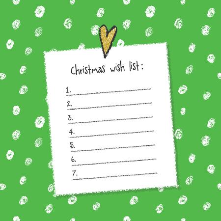 christmas list: Christmas wish list template. Hand drawn elements. Printable design.