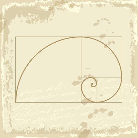 old paper: Golden ration presented on old background paper design. Golden proportion. Graphic design element. Illustration
