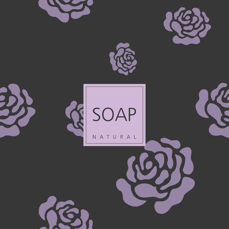 handmade soap: Background for natural handmade soap. Roses background. Cute design element. Illustration