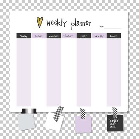 organiser: Weekly planner. Note paper, Notes, to do list. Organiser planner template. Note paper. New year and Christmas time.