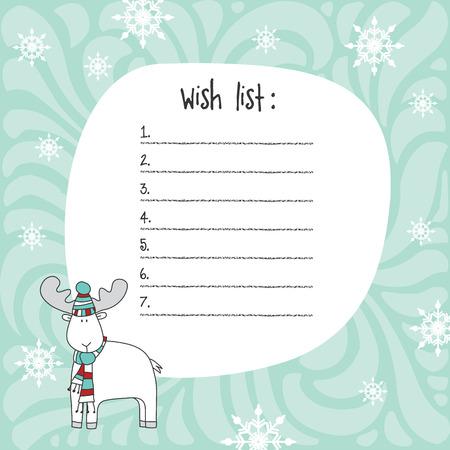 winter wish: Christmas wish list template. Hand drawn elements. Printable design.