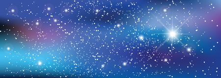 Wszechświat z gwiazdami. Matryca świecących gwiazd. Tło przestrzeni. Ilustracje wektorowe