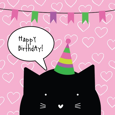 Happy Birthday Card With Cute Cat Character Greeting Card Design