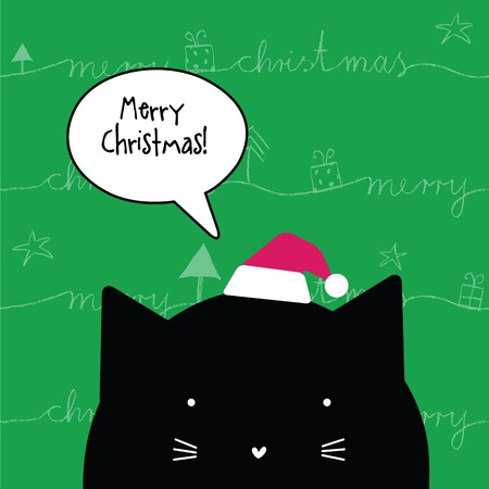 christmas element: Happy Christmas greeting card. With cat character. Design element. Illustration