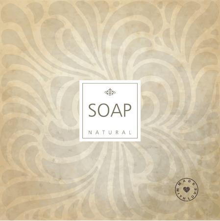 label design: Background for natural handmade soap. Illustration
