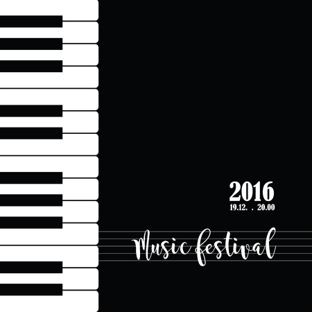 Música de piano plantilla de cartel del festival. Fondo con las teclas del piano. teclado de piano. Fondo abstracto.