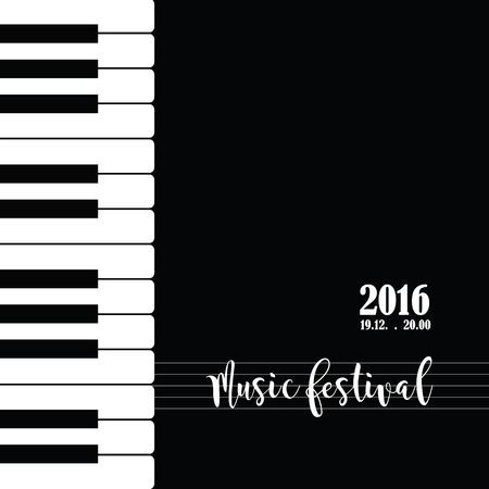 Musica pianoforte modello di manifesto del festival. Sfondo con tasti di pianoforte. Tastiera di piano. Abstract background.