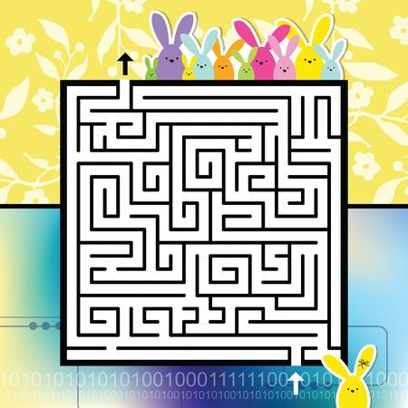 Labyrint. Help het konijntje om een ??juiste uitweg te vinden. Haal me eruit. Pasen image.Design afbeelding. Sjabloon.