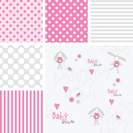 babygirl: Set of baby shower patterns. Semless patterns.