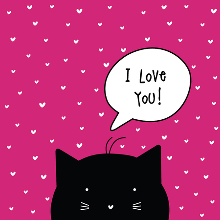 kitties: Valentines card with copy space. Template. Graphic design element.