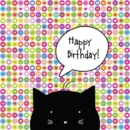 Happy Birthday Card Cat Character Template Graphic Design